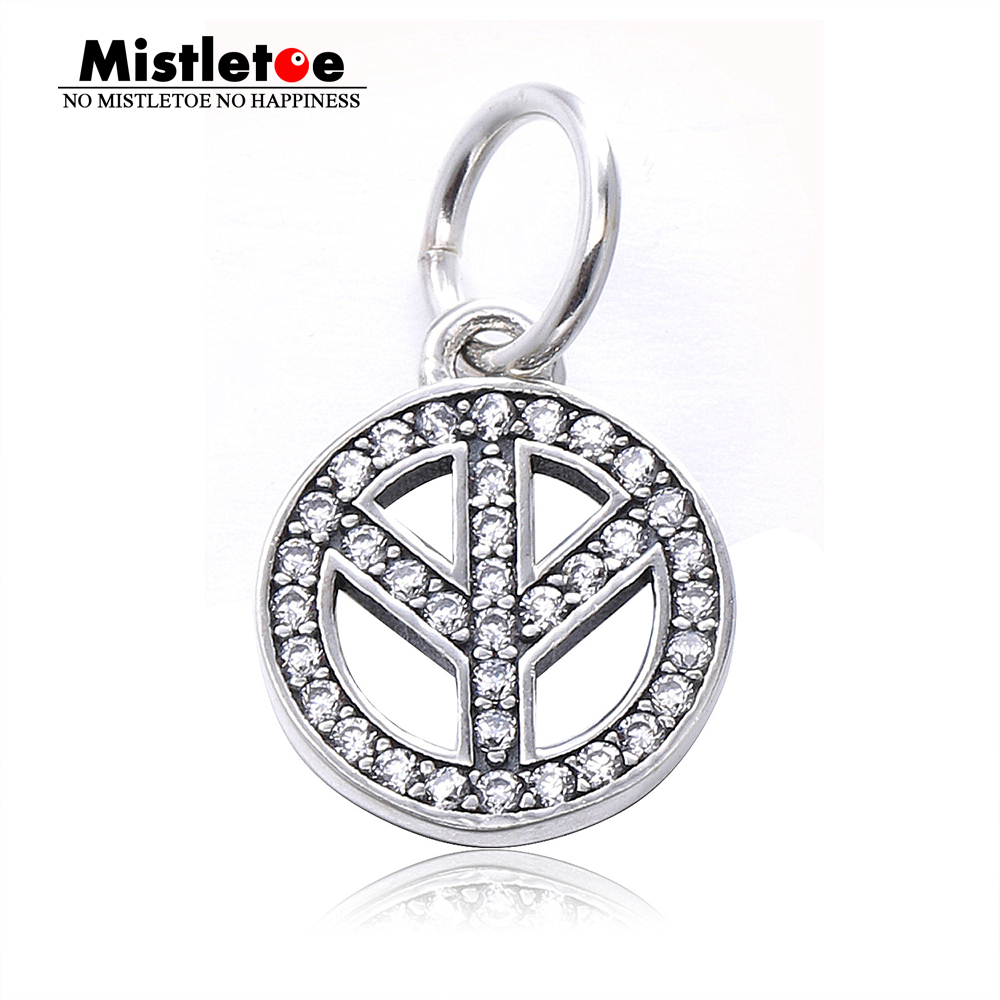 Authentic 925 Sterling Silver Peace sign silver dangle with cubic zirconia Dangle Charm Fit European Bracelets Jewelry