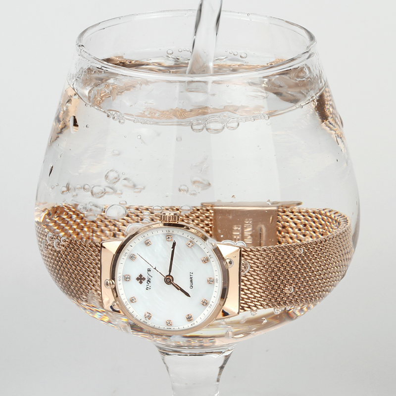 WWOOR Märke Luxury Women Vattentät Quartz Watch Ladies Rose Gold - Damklockor - Foto 6