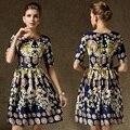 Women's Satin Court Coins Flower Printed Dress 2016 New Vintage Elegant Ladies Summer Fashion Half Sleeve A-Line Dress vestidos