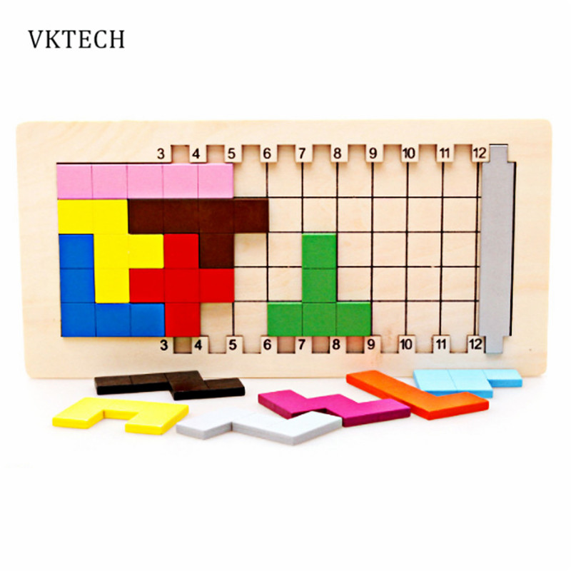 Coloful Puzzles Children Baby Montessori Toys Tangram Brain Teaser Tetris Game Wooden Toys 3D Puzzle Wood Toy