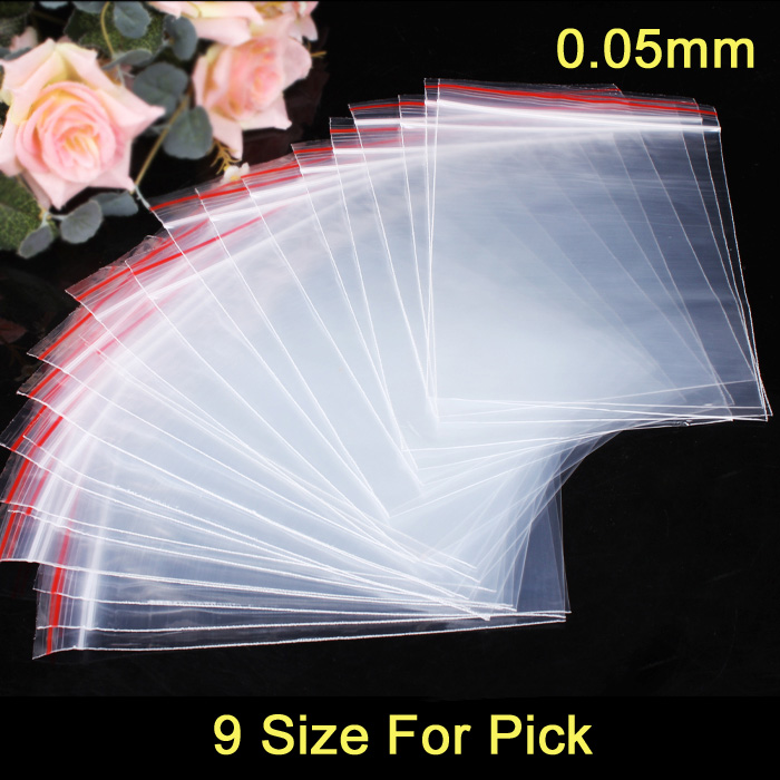 100pcs/lot Jewelry Ziplock Zip Zipped Lock Reclosable Plastic Poly Clear Bags