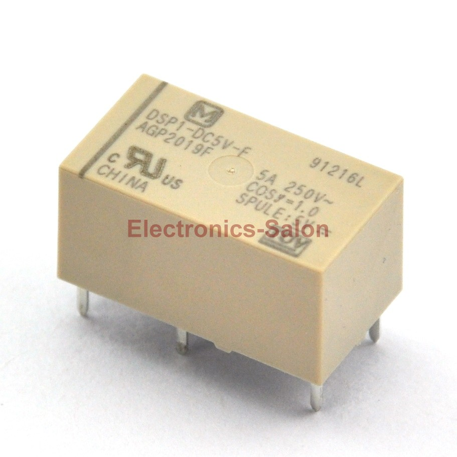 ( 50 Pcs/lot )  DSP1-DC5V-F Small Polarized Power Relay, 1 Form A 1 Form B.