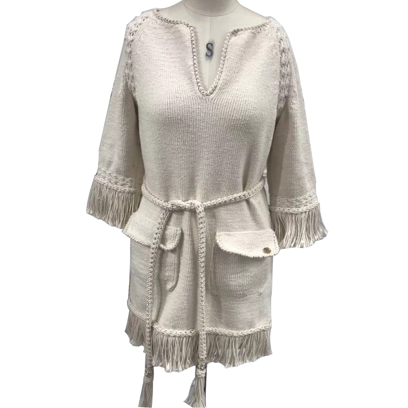 knitted dress women 2018 spring autumn half sleeve dress fashion tassel dress with sash