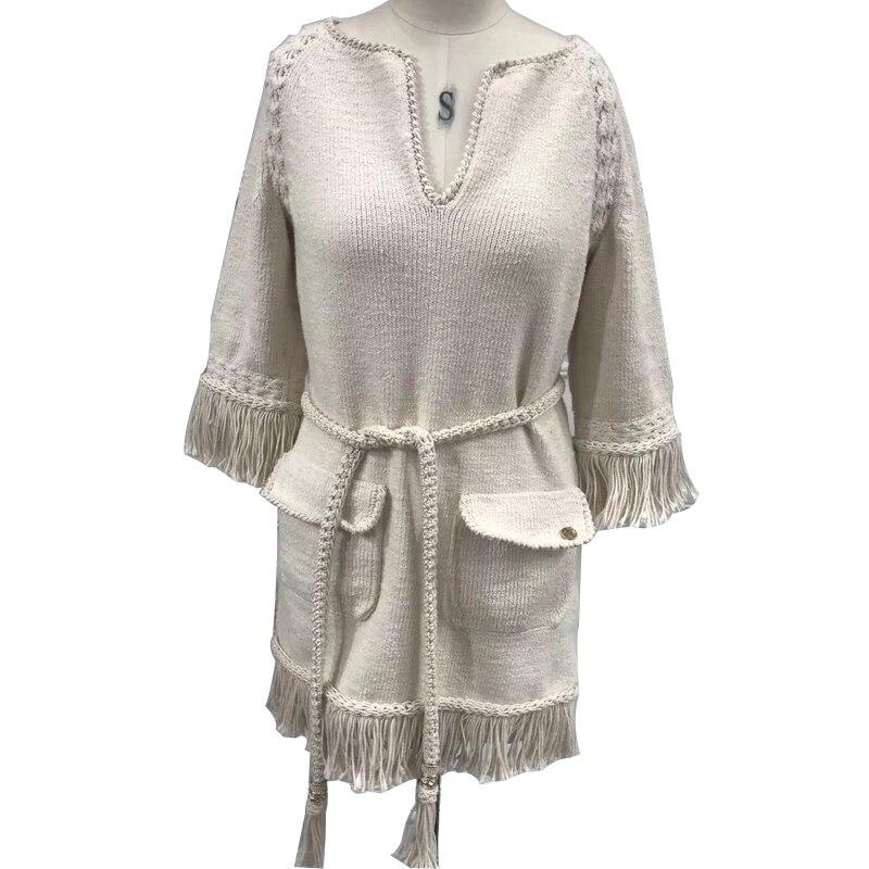 knitted-dress-women-2018-spring-autumn-half-sleeve-dress-fashion-tassel-dress-with-sash