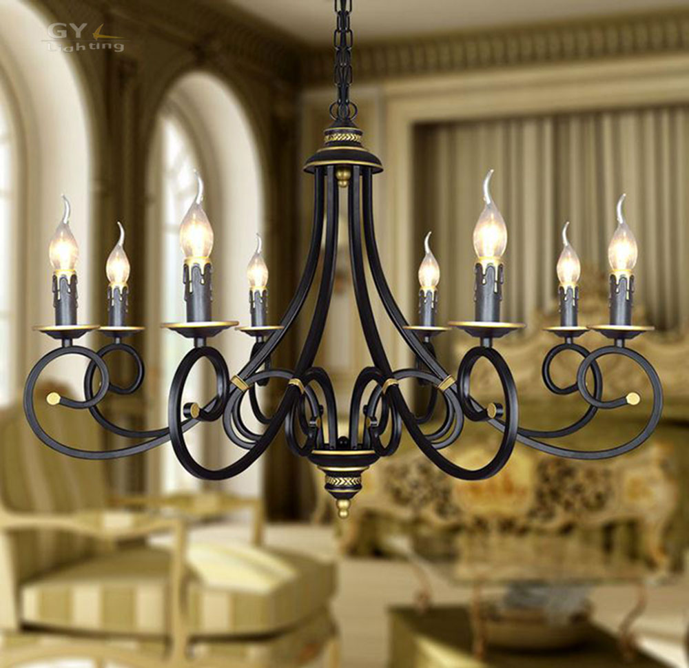 Ac110 220 v lustres en fer forgé pendentif luminaire moderne 8 lumières suspension lampe vintage suspendus