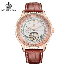 2016 New Man Watch Blackcat Orkina Brand Watches Fashion Trend Of Men s Mechanical Genuine Leather