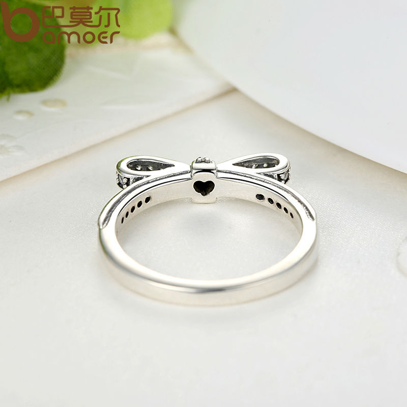 Women's Silver Sparkling Bow Knot Ring Jewelry Rings Women Jewelry