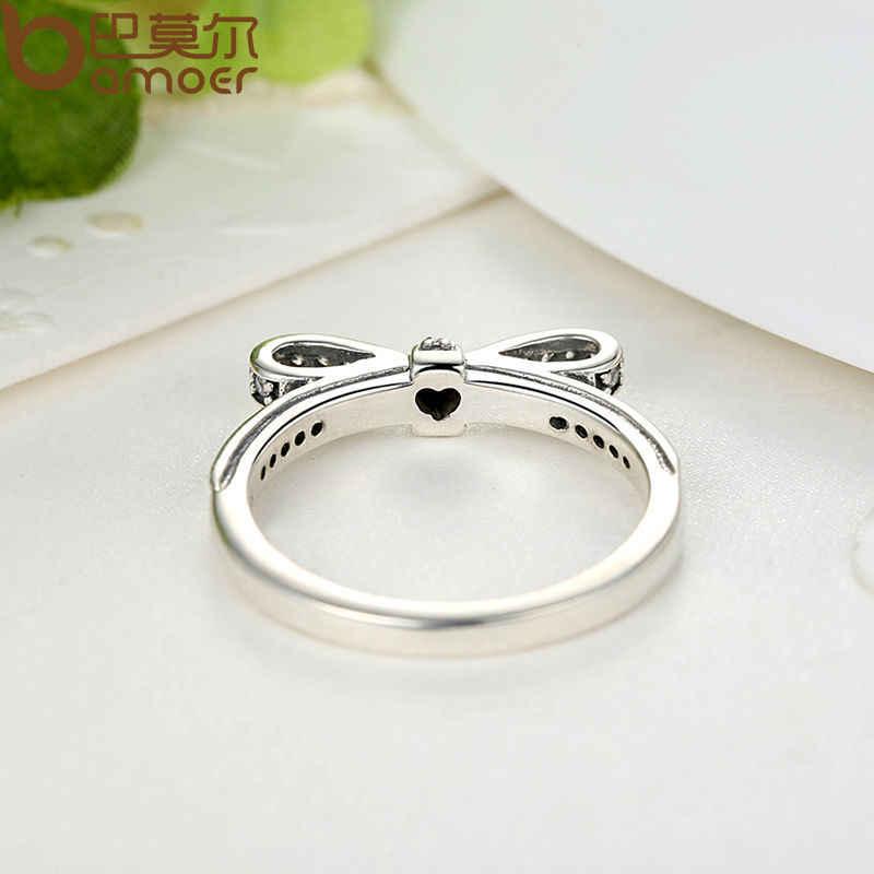 Bamoer аутентичные 100% стерлингового серебра 925 игристые бант стекируемые кольцо микро-проложить CZ ювелирные изделия PA7104