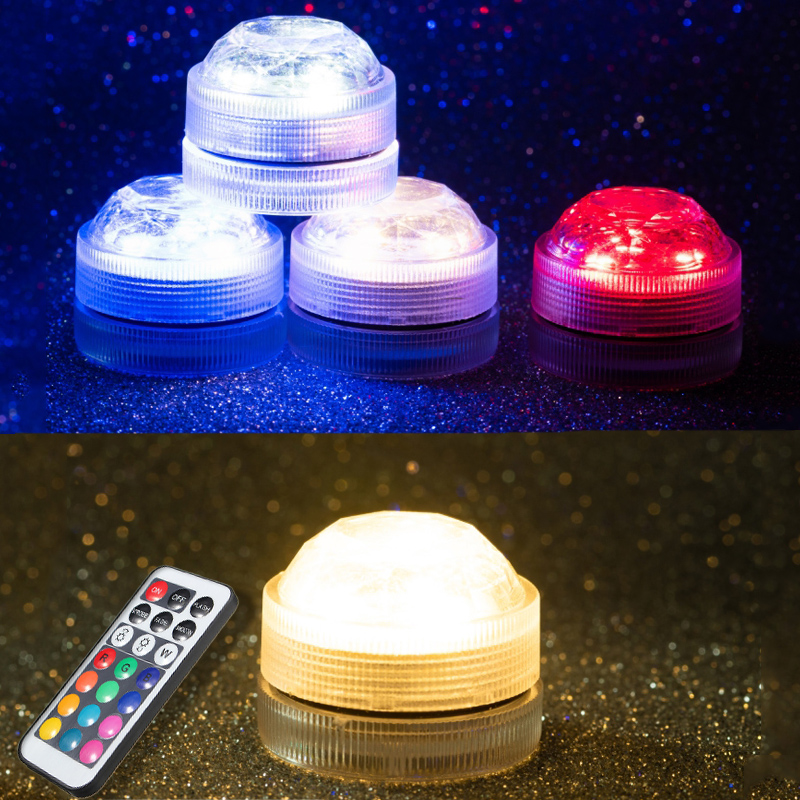 Mini RGB LED Light Bulb Button Battery Round Candle Bulb Underwater Lamp With Remote Control Waterproof Lamps Submersible Lights