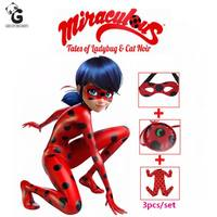 Miraculous Ladybug Girls Cosplay Costumes Ladybug Marinette Halloween Christmas Kids Clothing Jumpsuits Girls Dresses Streetwear