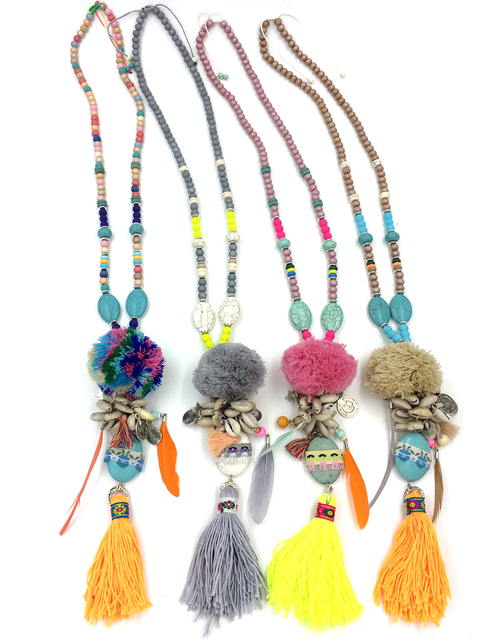 2017 new Boho handmade long tassel pendants Necklace turquoise ball pendants necklace with feather charm for summer sea Beach