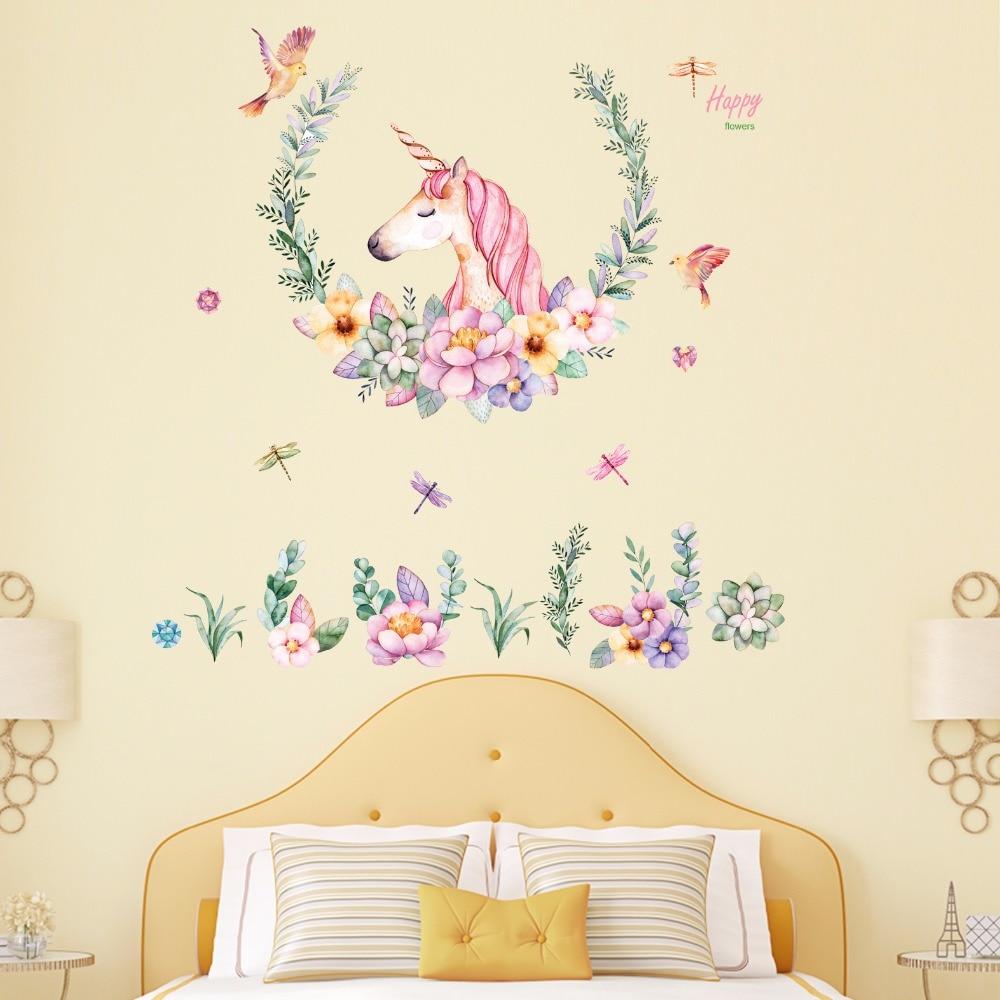 Flower Wreath Unicorn Wall Stickers Girl Baby Room Decor Wallpaper