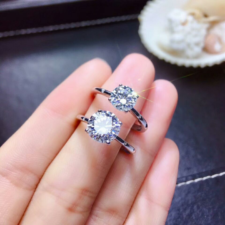 MeiBaPJ Glittering Moissanite Gemstone 4 Claw Simple Diamond Ring for Women Real 925 Sterling Silver