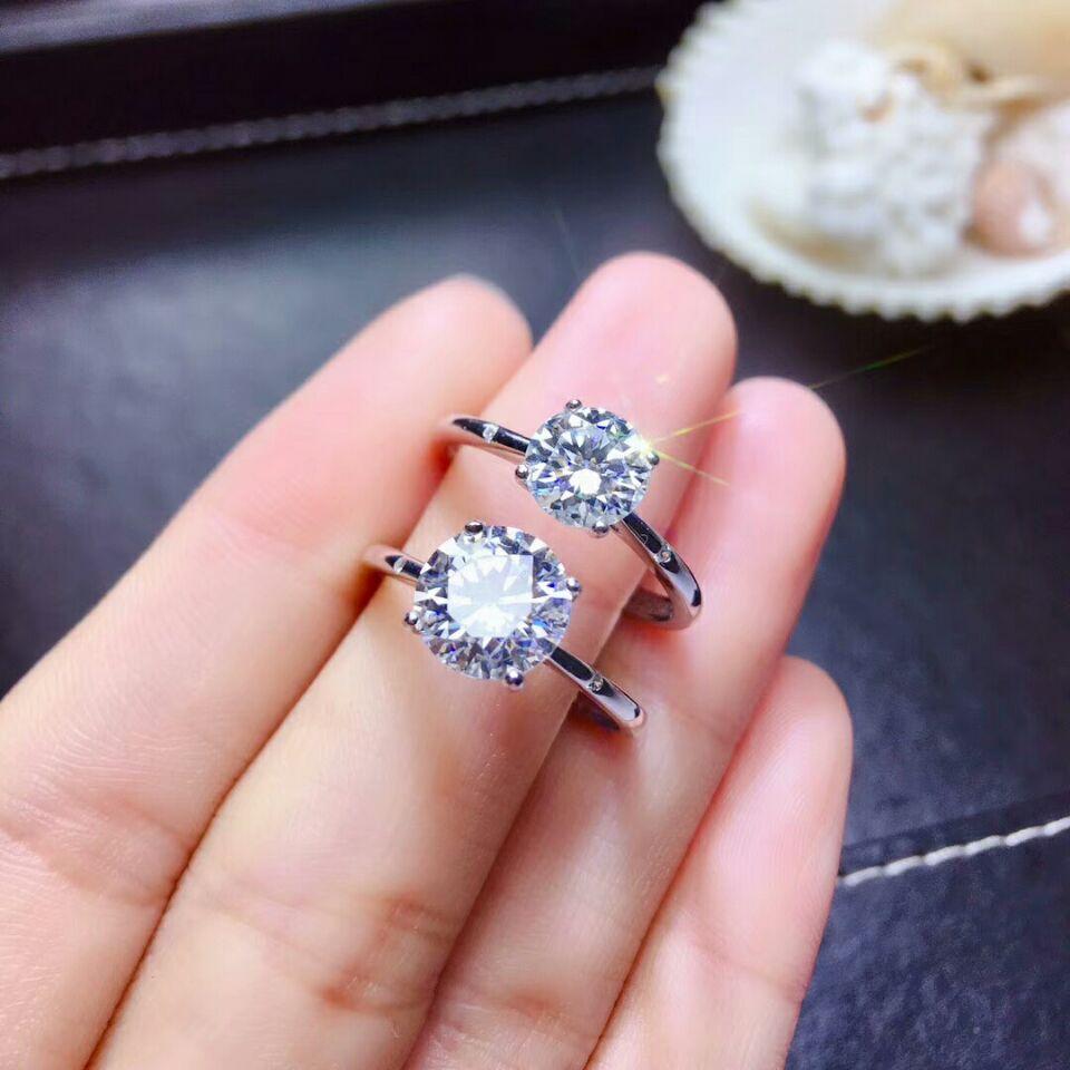 [MeiBaPJ scintillant Moissanite pierres précieuses 4 griffes Simple bague en diamant pour les femmes réel 925 charme en argent Sterling bijoux de mariage fins