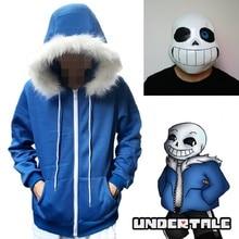 Толстовки для косплея «Undertale Sans», латексная маска, маски скелетов, синее пальто, костюмы на Хэллоуин, куртка унисекс, пальто с капюшоном, карнавальный костюм