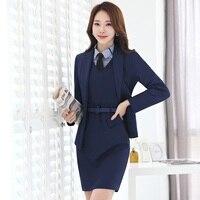 النساء رسمية الدعاوى التجارية مع اللباس + سترة + وزرة 3 قطعة مجموعات جديدة 2017 الخريف الشتاء أزياء السيدات مكتب العمل الموحد