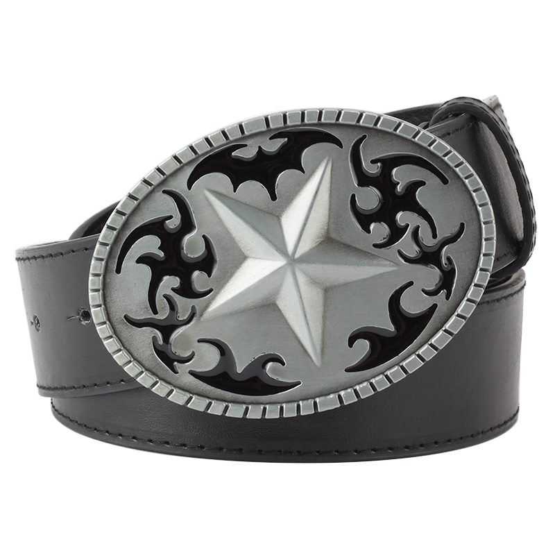 Heavy Metal Cowboy Punk Belt Genuine Leather Hip Hop Belts For Men Cross Rivet Jeans Belt Male Strap Ceinture Homme PT93