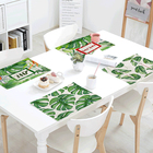 Tropical Green Plant Table Napkins Pattern 42*32 cm Linen Material Family Kitchen Decoration Coffee Shop Hotel Decor Tablecloth