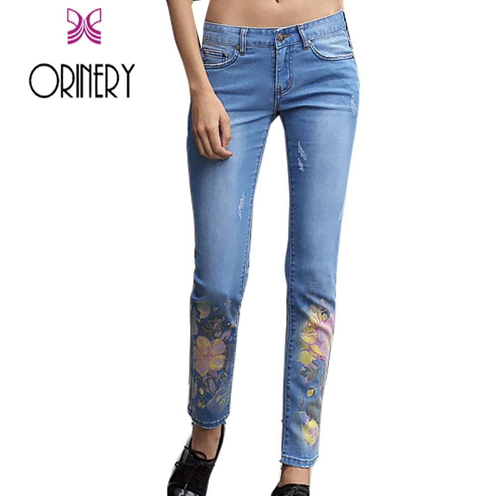 ФОТО ORINERY 2017 New Designer Floral Printed Jeans Woman Skinny Denim Pants Fashion American Apparel Brand Clothing Trousers