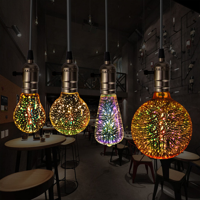 3D светодиодные лампы Star E27 Винтаж Эдисон ночник красочные Bombillas Ретро Стекло Lampara ампулы Рождество Home Decor фейерверк цветная (RGB)