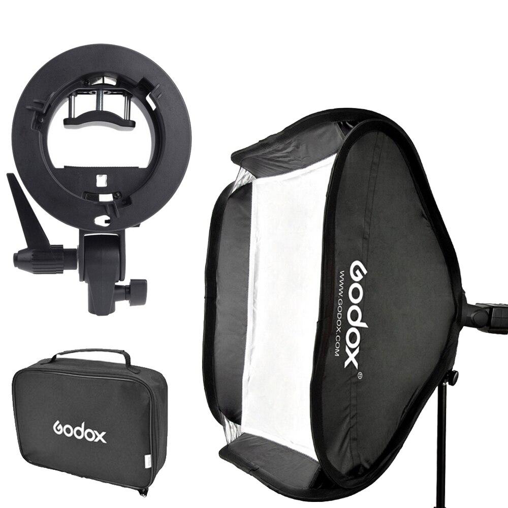 Godox 60x60 см вспышки софтбокс Kit & S-Тип кронштейн Боуэн держатель с сумкой для камера Фотостудия