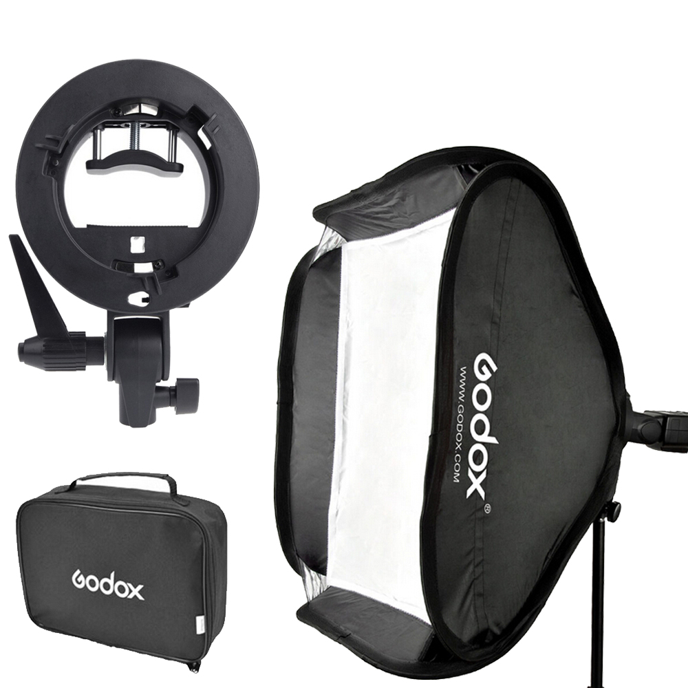 Godox 60 x 60cm Flash Softbox Kit & S-Type Bracket Bowen Mount Holder with Carrying Bag for Camera Photo Studio