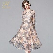 H han kraliçe Yaz Dantel Elbise Iş Rahat Ince Moda O boyun Seksi Hollow Out Nakış Elbiseler Kadın A line Vintage Vestidos