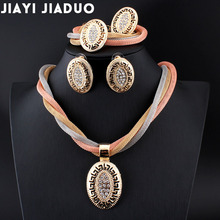 jiayijiaduo African beads Bridal Crystal Jewelry Sets Necklace Set for Womens clothing accessories Gold color Conversations