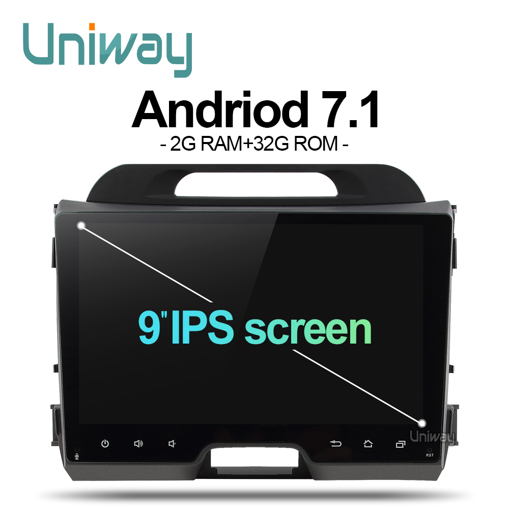 Uniway AZP9071 android 7.1 dvd do carro para kia sportage 2009 2011 2013 2014 2015 car radio navegação gps com volante roda