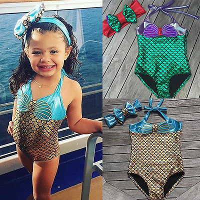 9682cb3e6aeb6 2017ワンピーススーツ新生児幼児ベビーキッズ女の子人魚ビキニ水着水着水着