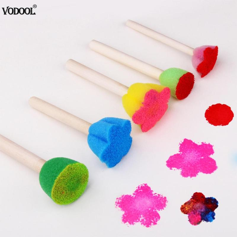 VODOOL 5pcs/set DIY Wooden Art Painting Brushes Sponge Graffiti Pen Kids Doodle Early Drawing Toy Home Paint School Supplies