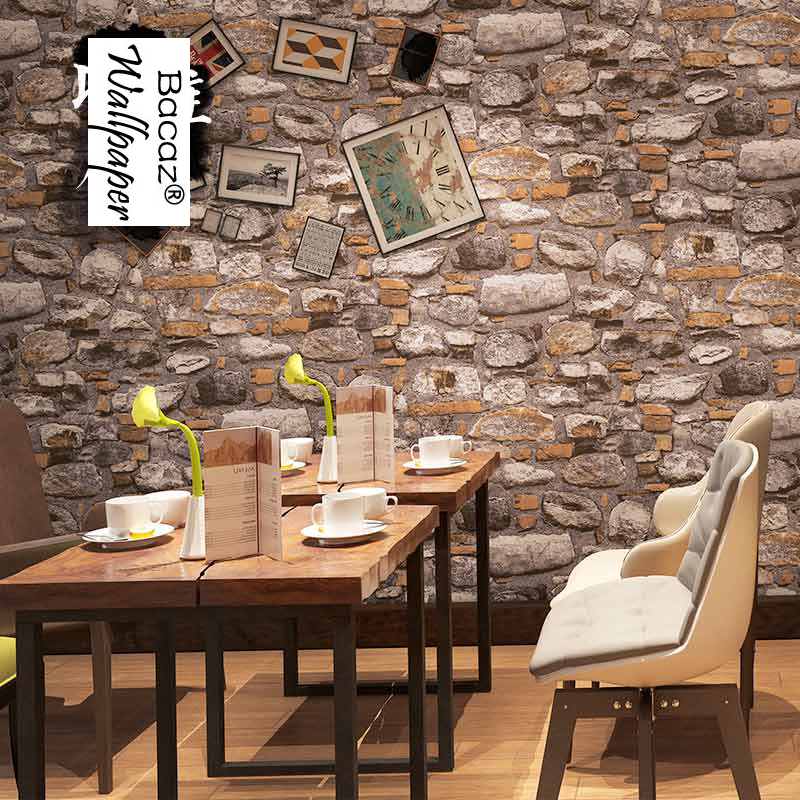 3d papel parede Vintage vinyl 3d stone wallpaper roll for bedroom TV background 3d wall paper for cafe 3d Bricks wallcoverings modern vintage pvc 3d stone brick printing style vinyl waterproof pattern wallpaper wall paper roll papel de parede 10m