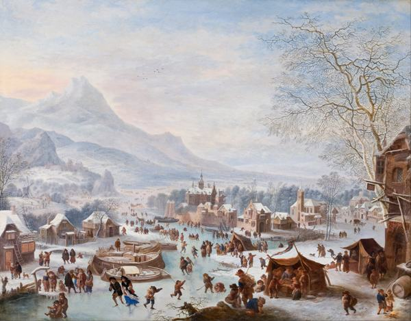 free shipping classical winter skating snowscape canvas prints oil painting printed on canvas home wall art decoration picture