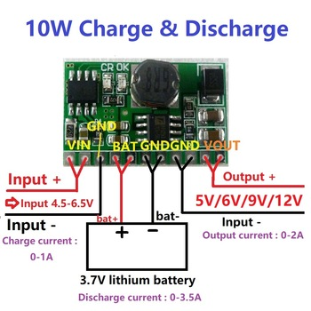 10W 3.7V 4.2V Charger & 5V 6V 9V 12V Discharger Board DC DC Converter Boost Step-up Module UPS diy Li-lon LiPo lithium battery shoulder bag