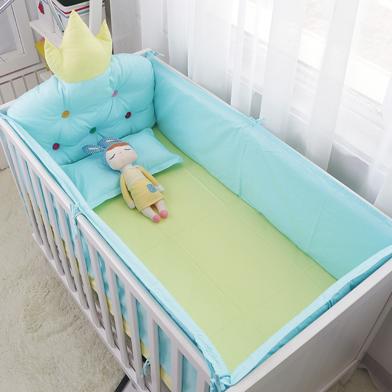 5 pcs Luxury Cotton Baby Bedding Set Quality Brand Baby Bed Cot Linens Include Big Crown Backrest Crib Around Bumpers Bed Sheet promotion 6pcs baby bedding set cot crib bedding set baby bed baby cot sets include 4bumpers sheet pillow