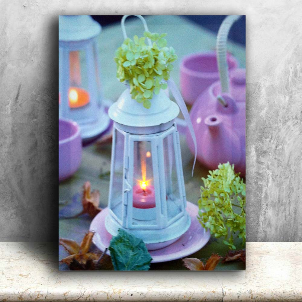 Lighted Canvas painting Spring lantern on table Canvas Print Led Wall Arts wall picture home decoration battery open 16x24IN