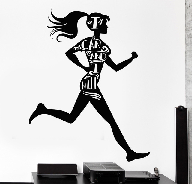 Sports girl vinyl black wall decals for gym motivational