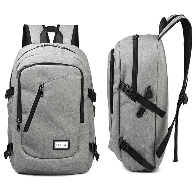 Computer Laptop USB Charging Backpack School Bag Pack Adult Student Bag Business Backpack Male Unisex Waterproof Travel Backpack