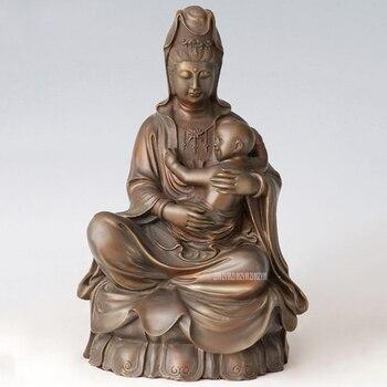 Guanyin Buddha Statue Bronze Craft Holding a Baby Child Figurines Chinese Buddha Sculpture Home Living Room Furnish B-99