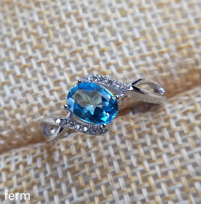 KJJEAXCMY Fine Jewelry  925 Sterling Silver Inlaid With Natural Blue Topaz Ring Smooth Curve Is Simple And Bold