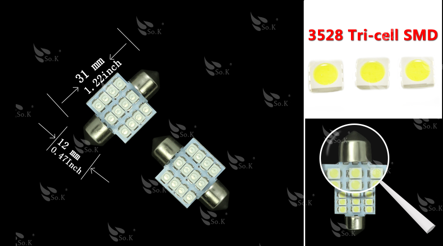 Hot Sale 31mm 12 LED 3528 1210 SMD Festoon Dome C5W Car Auto Interior - Car Lights - Photo 2