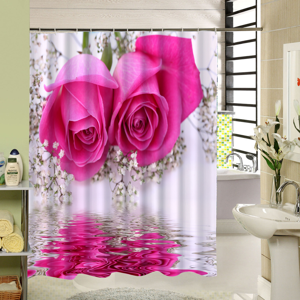 Reflection Pink Flower Shower Curtain Bathroom Waterproof Mildew Proof Polyester Fabric with 12 Hooks 180cm*180cm