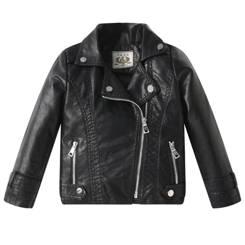 pu jaqueta de couro jaqueta menino menina 2019 primavera outono novo casaco de couro rebite criancas