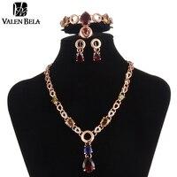 VALEN BELA Düğün Afrika Gelin Takı Seti Kristal Kadın Deyimi Kolye Seti Yüzük Küpe Moda Jewellry dubai XL1110