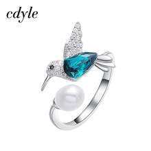Cdyle Crystals from Swarovski Hummingbird Open Ring Resizable Green Bird Stone Finger Pearl Ring For Women Wedding/Birthday Gift(China)