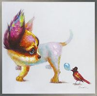 Handmade Picture Wall Art Canvas Abstract Animal Paintings Cute Dog And Bird Cartoon Oil Painting Kids