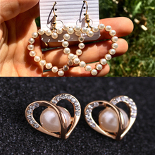 Fashion crystal heart pendant drop earrings pearl geometry dangle women girls Korean Style Party Wedding Jewelry gifts