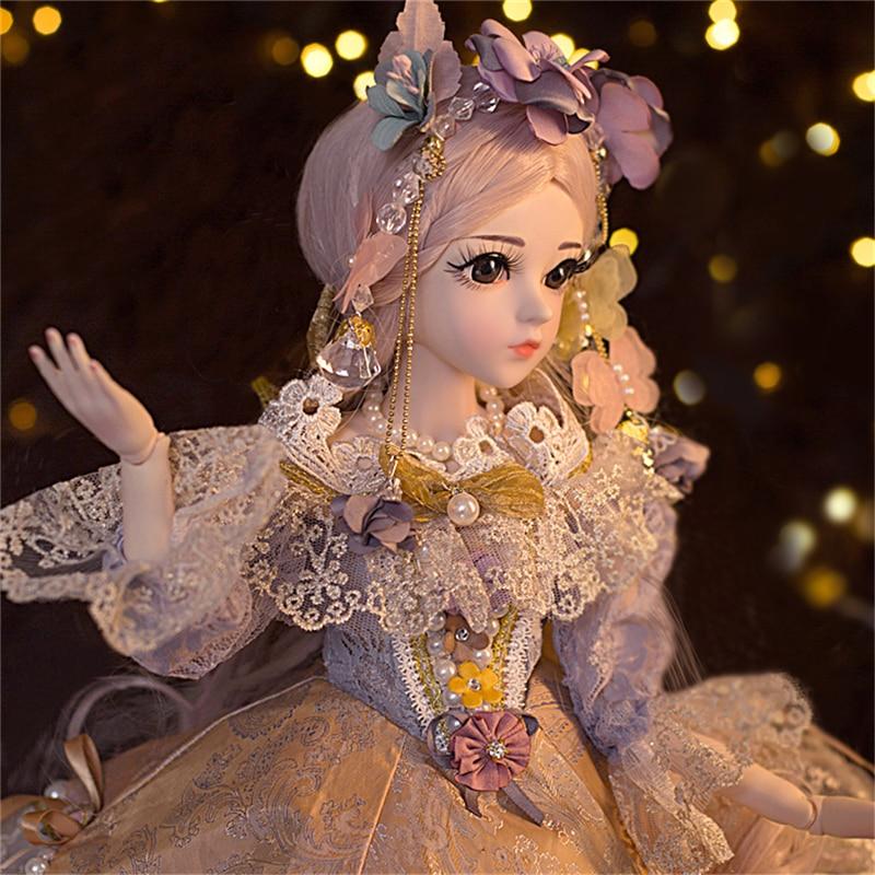BJD 60CM elegancki lalki 1/3 brązowe oczy z ubrania piękno ręcznie zabawki silikonowe odrodził lalki zabawki prezent dla dzieci w Lalki od Zabawki i hobby na  Grupa 2