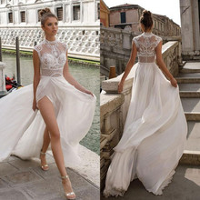 329c781790 2019 Chiffon Wedding Dresses Illusion Beading High Neck Cap Sleeves Side  Slit Beach Berta Bridal Gown