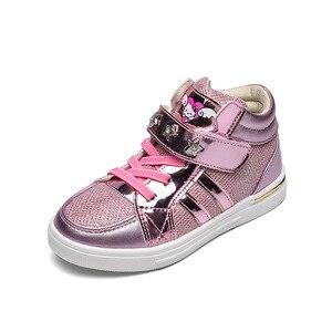 Image 2 - Kids 2018 Kinderen Meisje Merk Glitter High Top Sneaker Meisje Leuke Kitty Fashion Trainer Peuter Pu Leer Pailletten Schoen